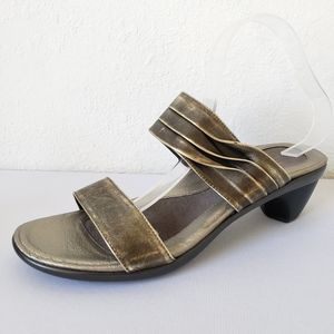 Naot Isis Pewter Metallic Leather Strappy Heels
